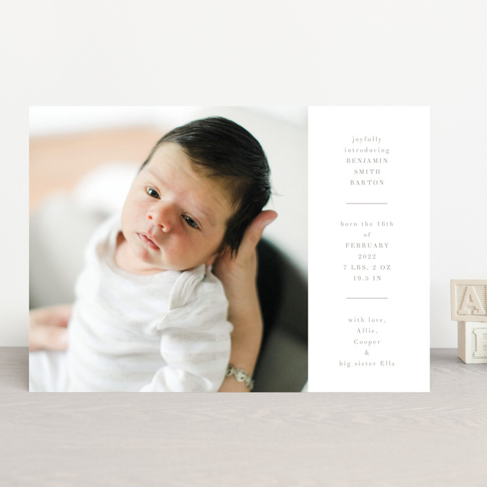 """""""Tarrytown"""" - Birth Announcements in Fawn by Toast & Laurel."""