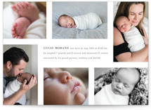 This is a white birth announcement by Simona Camp called Filled With Love with standard printing on signature in standard.