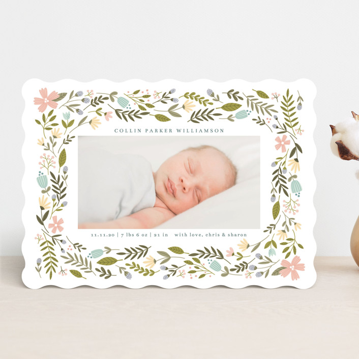 """""""Little Floral Frame"""" - Birth Announcements in Buttercup by Kristen Magee."""