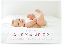 This is a red birth announcement by MC designs called Welcome our Baby with standard printing on smooth signature in standard.