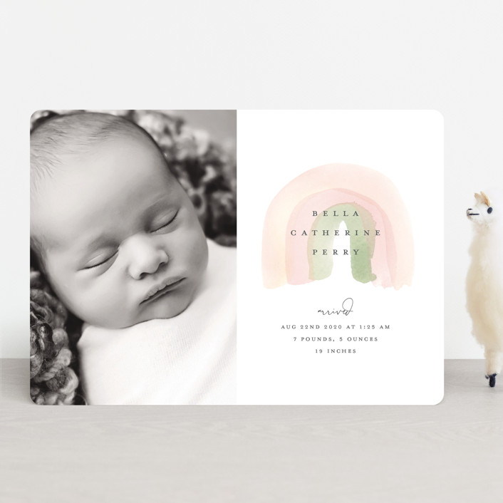 """Watercolor miracle"" - Whimsical & Funny Birth Announcements in Blush by Stacey Meacham."