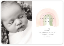 This is a pink birth announcement by Stacey Meacham called Watercolor miracle with standard printing on smooth signature in standard.