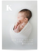 This is a white birth announcement by Creo Study called My alphabet with standard printing on smooth signature in standard.
