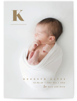 This is a brown birth announcement by Creo Study called My alphabet with standard printing on smooth signature in standard.