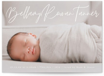 This is a white birth announcement by Olivia Raufman called Scripted Love with standard printing on smooth signature in standard.