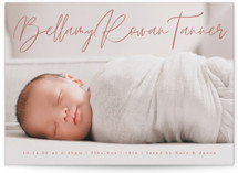 This is a orange birth announcement by Olivia Raufman called Scripted Love with standard printing on smooth signature in standard.