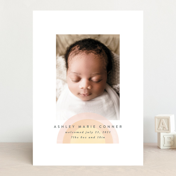 """our rainbow"" - Modern Birth Announcements in Rose by Angela Garrick."