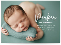 This is a white birth announcement by Susan Asbill called little name with standard printing on signature in standard.