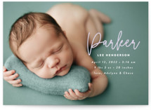 This is a purple birth announcement by Susan Asbill called little name with standard printing on signature in standard.