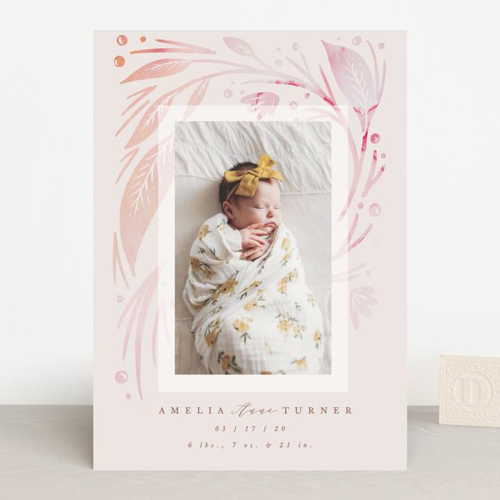 """Amelia"" - Birth Announcements in Blush by Hannah Williams."