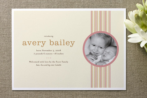 Pin Stripes Birth Announcements