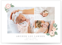 This is a pink birth announcement by Itsy Belle Studio called Garden Flower with standard printing on smooth signature in standard.