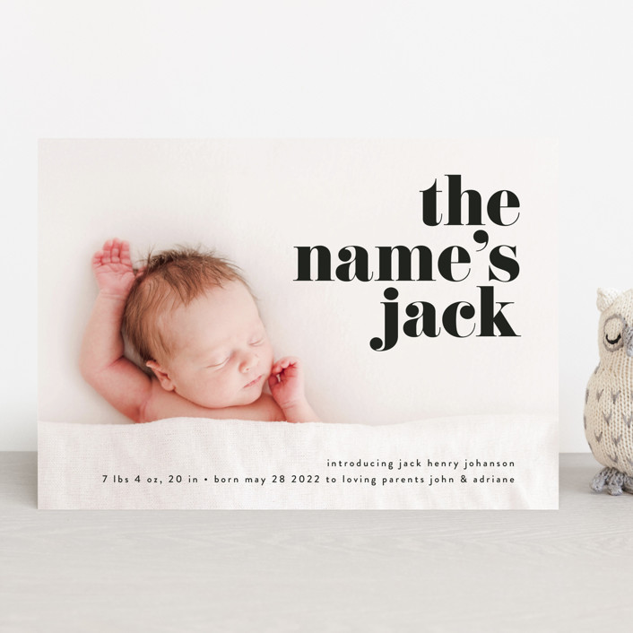"""the name"" - Funny, Modern Birth Announcements in Noir by Phrosne Ras."