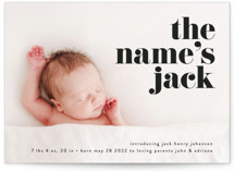 This is a black birth announcement by Phrosne Ras called the name with standard printing on smooth signature in standard.