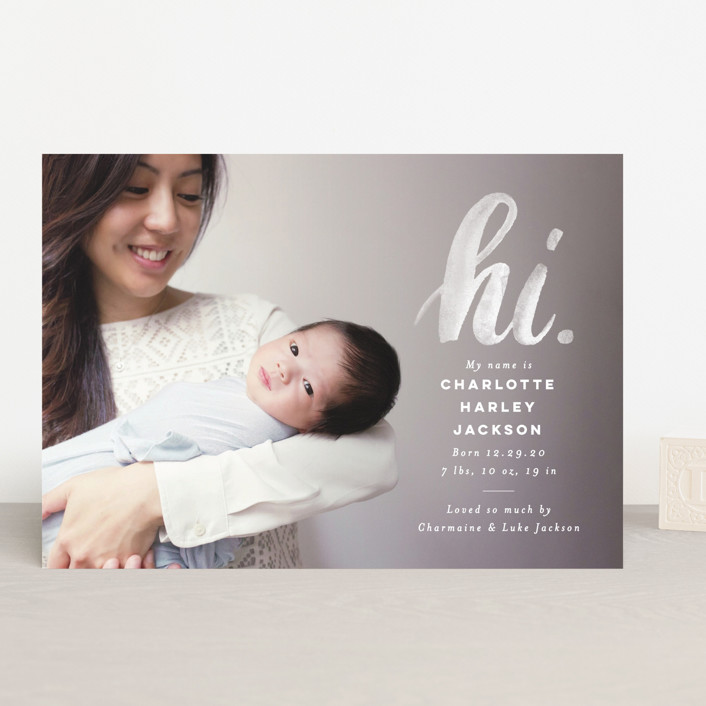 """hi."" - Modern Birth Announcements in Ice by Pink House Press."