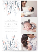 This is a blue birth announcement by Angela Marzuki called Soft Cascade with standard printing on smooth signature in standard.
