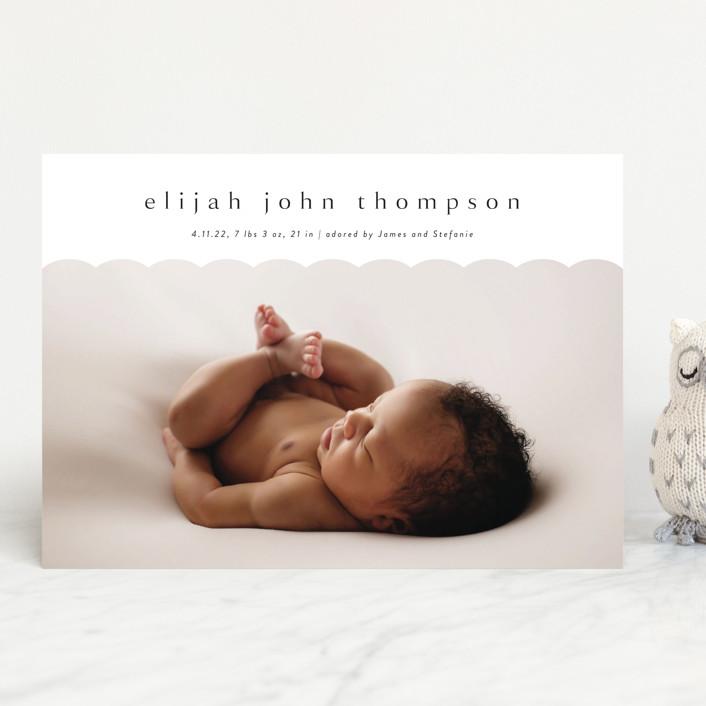 """Sweet Simplicity"" - Preppy Birth Announcements in Onyx by Kasia Labocki."
