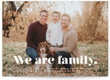 This is a white birth announcement by Corinne Malesic called We Are Family with standard printing on signature in standard.