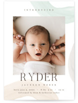 This is a green birth announcement by Pixel and Hank called Shapes and Colors with standard printing on signature in standard.