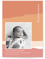 This is a orange birth announcement by Robin Ott called torn paper with standard printing on smooth signature in standard.