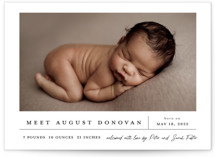 This is a white birth announcement by Stacey Meacham called Bundle of Joy with standard printing on signature in standard.