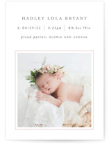 This is a pink birth announcement by Hooray Creative called Lined with standard printing on smooth signature in standard.