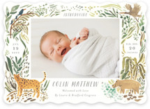 This is a green birth announcement by Morgan Ramberg called Jungle Friends with standard printing on smooth signature in standard.