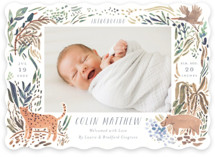 This is a brown birth announcement by Morgan Ramberg called Jungle Friends with standard printing on smooth signature in standard.