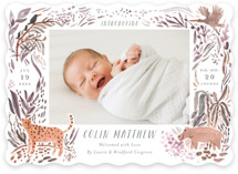 This is a pink birth announcement by Morgan Ramberg called Jungle Friends with standard printing on smooth signature in standard.