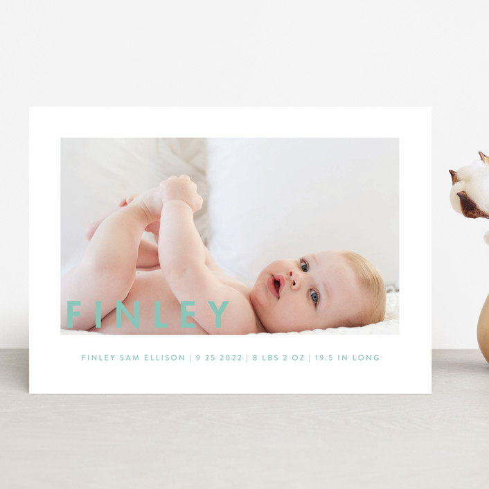 """Simply Baby"" - Modern Birth Announcements in Marshmallow by Susan Brown."