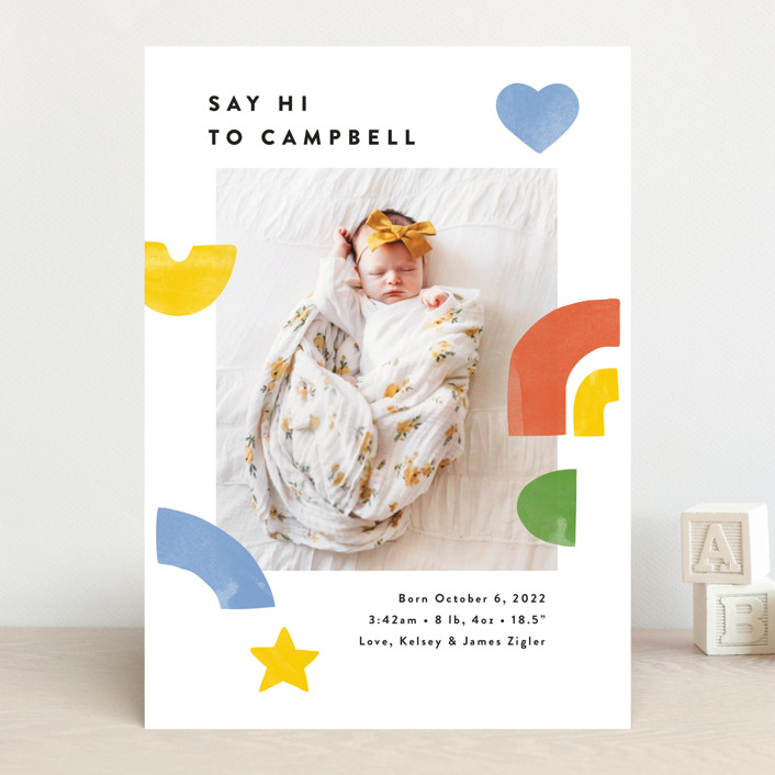 """""""Bright Shapes Collage"""" - Whimsical & Funny Birth Announcements in Sunshine by Ariel Rutland."""