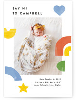 This is a colorful birth announcement by Ariel Rutland called Bright Shapes Collage with standard printing on smooth signature in standard.