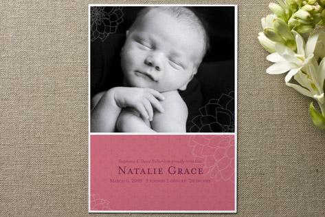 Subtle Dahlia Birth Announcements