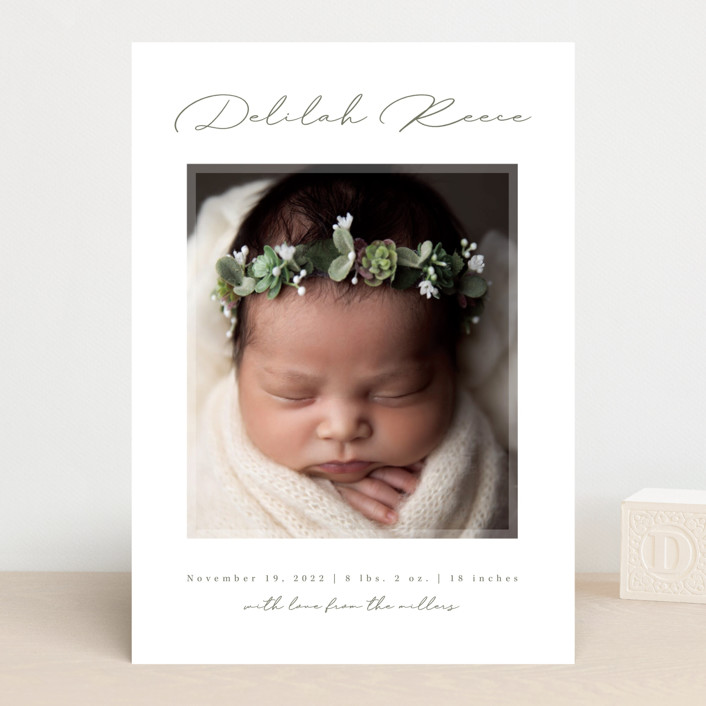 """""""Delilah"""" - Birth Announcements in Sage by Kacey Kendrick Wagner."""