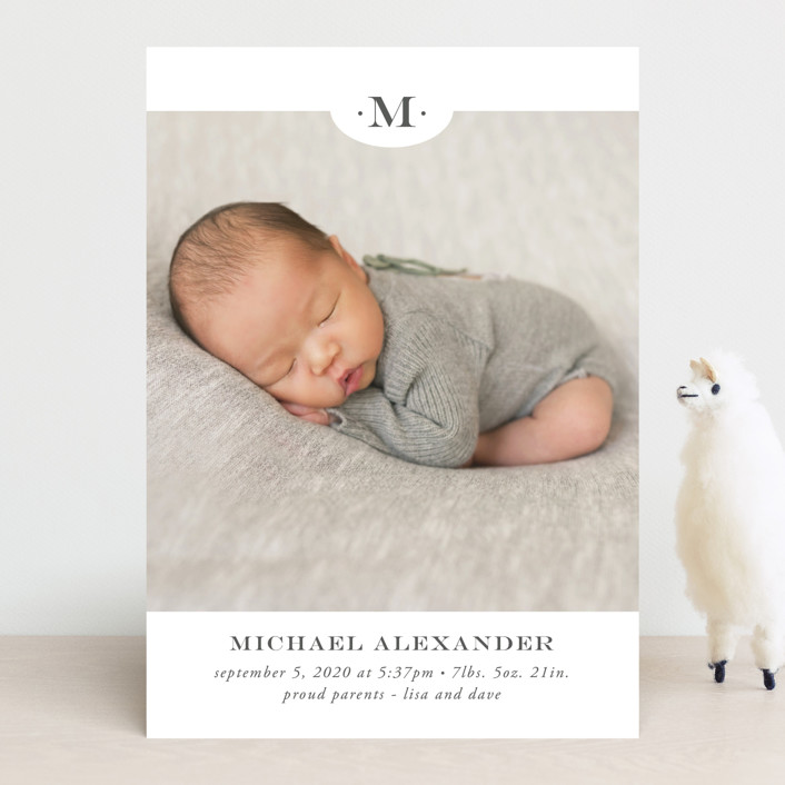 """""""Classic Monogram"""" - Preppy Birth Announcements in Charcoal by Beth Schneider."""