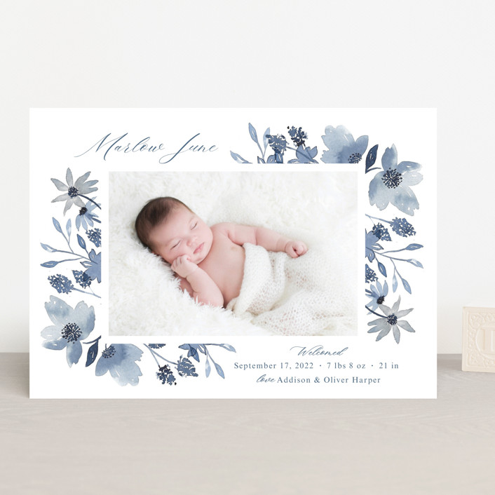 """""""Dusty Floral"""" - Birth Announcements in Blueberry by Mayflower Press."""