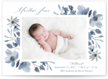 This is a blue birth announcement by Megan Cash called Dusty Floral with standard printing on signature in standard.