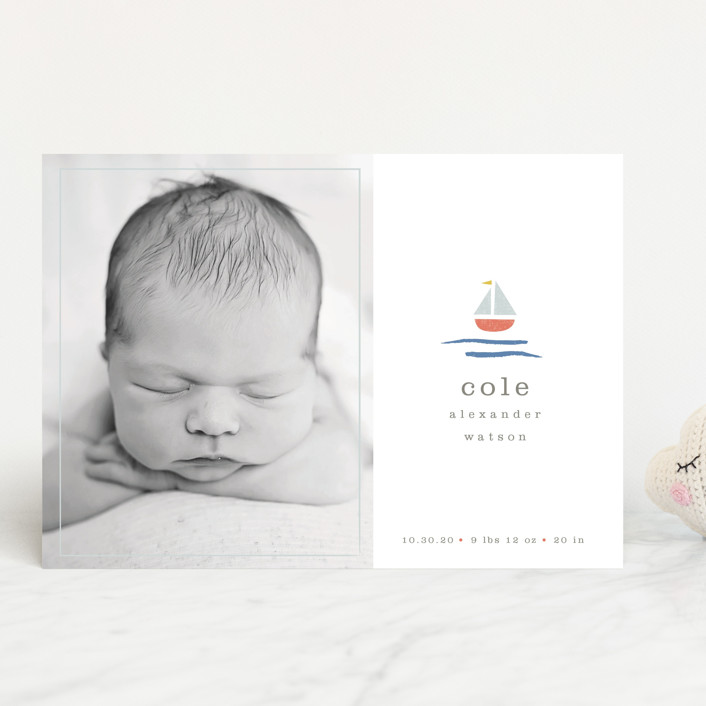 """sailor"" - Preppy Birth Announcements in Marina by Shannon Hays."