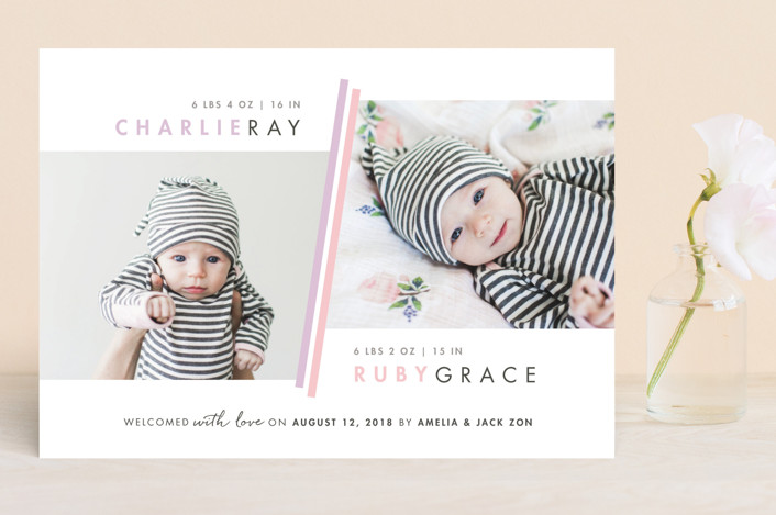 """Two Fold"" - Modern Birth Announcements in Blush by Snow and Ivy."