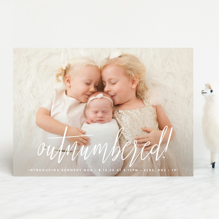 """""""Outnumbered"""" - Funny Birth Announcements in Snow by Olivia Raufman."""