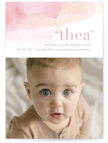 This is a pink birth announcement by Hooray Creative called Dreamy Watercolor with standard printing on smooth signature in standard.