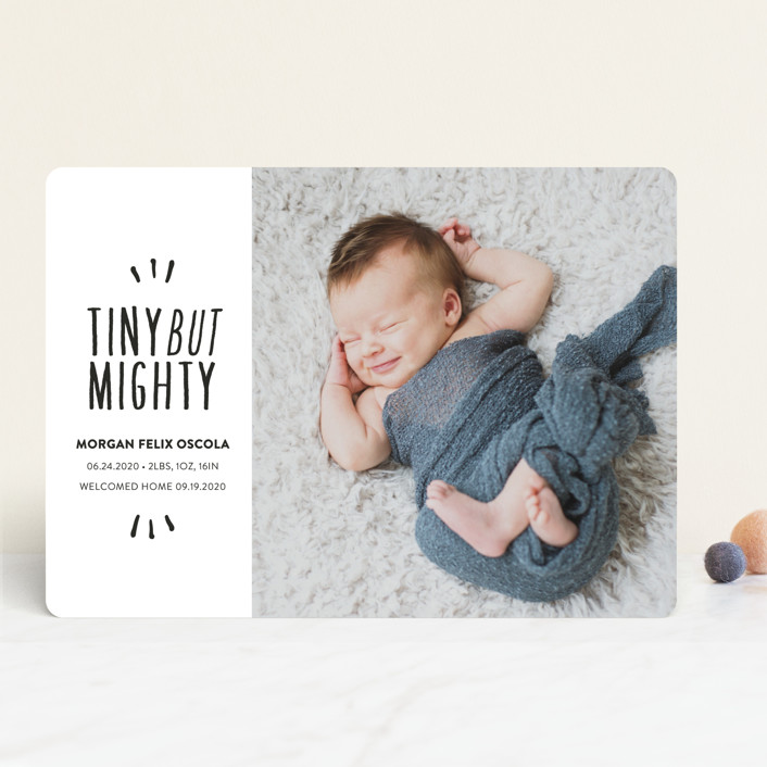 """Tiny but mighty"" - Funny, Modern Birth Announcements in Pepper by Lea Delaveris."
