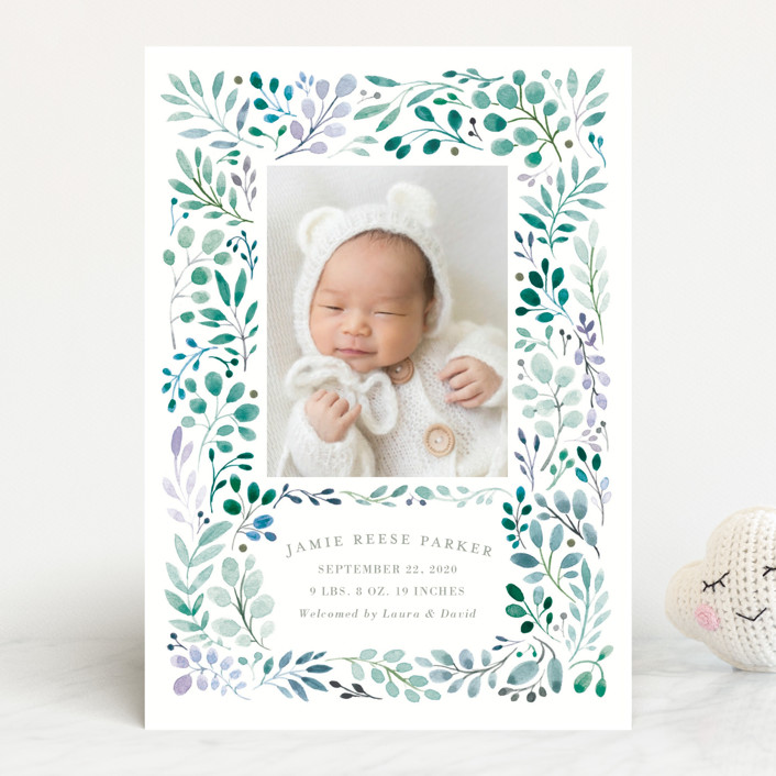 """""""Sweet Vine"""" - Birth Announcements in Coral by Morgan Ramberg."""