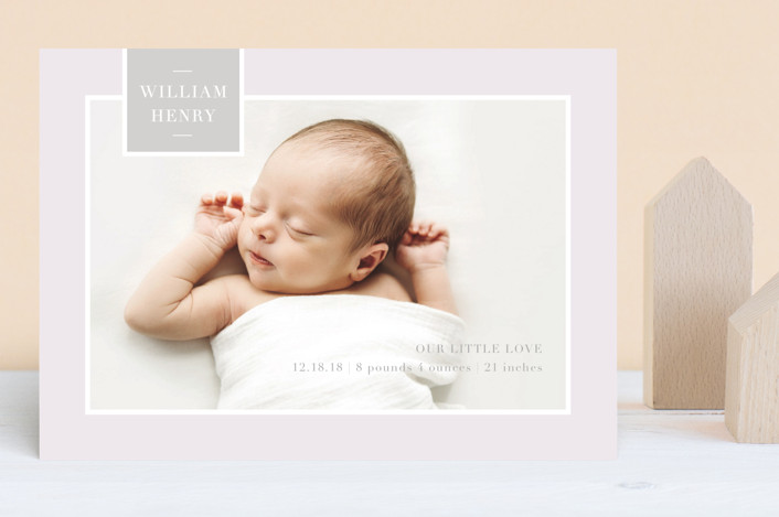 """""""Tag Love"""" - Preppy Birth Announcements in Cloud by Little Words Design."""