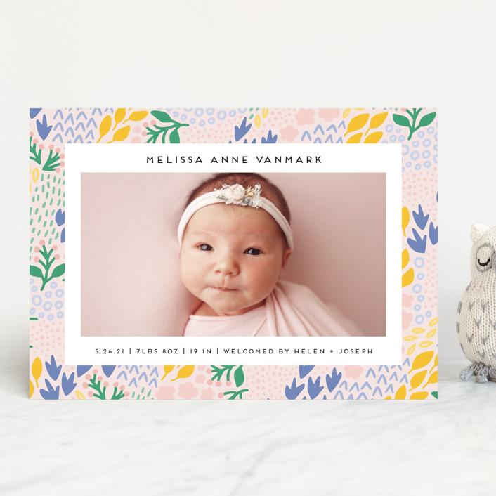 """""""Little Foliage"""" - Birth Announcements in Blush by Genna Blackburn."""
