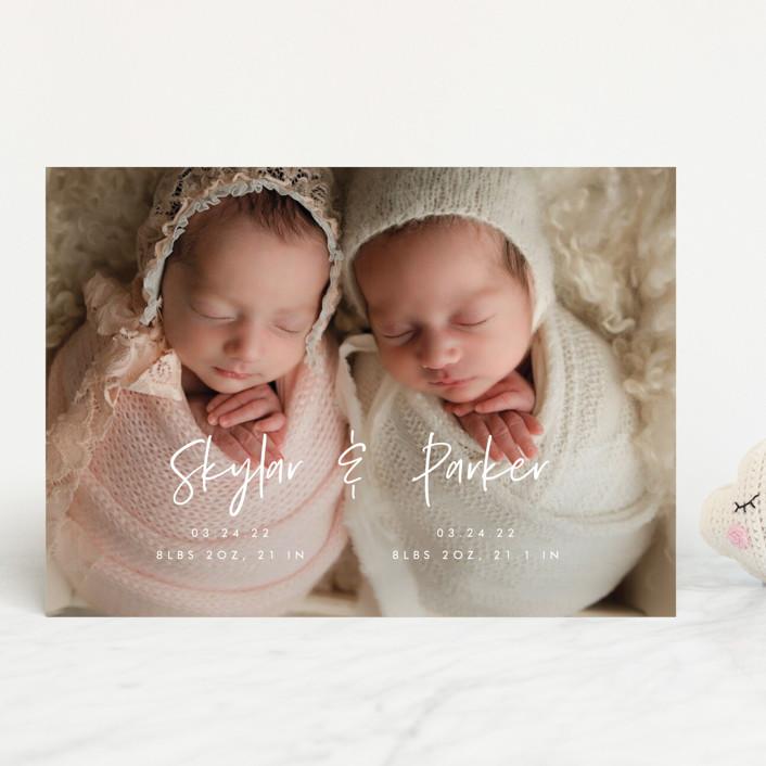 """Twin Names"" - Modern Birth Announcements in Bubblegum by Vera Lim."
