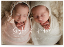 This is a white birth announcement by Vera Lim called Twin Names with standard printing on signature in standard.