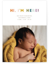 This is a colorful birth announcement by Shari Margolin called Colorful Hello with standard printing on signature in standard.