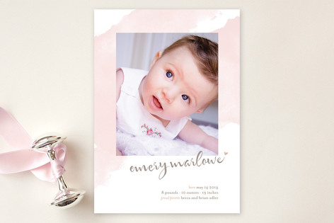 Soft Watercolor Birth Announcements