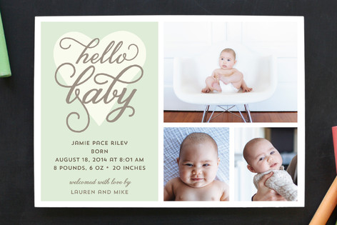 Hello Baby Love Birth Announcements